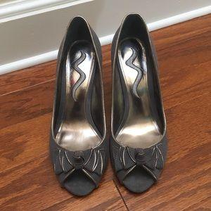 Nina Peep Toe Velvet Heels